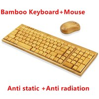 Wholesale 2 GHz Standard keys Keyboard Natural Bamboo Anti Radiation Handmade Keyboard and Mouse Whole set Wireless Wood Design