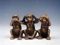 achat en gros de gros singe parler-Vente en gros pas cher en laiton massif Sculpture miniature 3 Monkeys NO quot; Voir Entendre Talkquot; À propos de Ghost