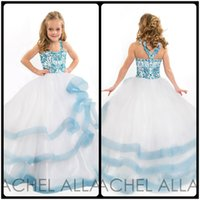 beauty angels girls - Angel Girls Pageant Gowns Beauty Pageant Dresses Tiered White Blue Flower Girl Dress Princess Party Dresses