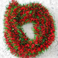 Wholesale Christmas Decoration M pc Green Tinsel Red Ribbon For New Year and Christmas Tree Hanging Deer For Home