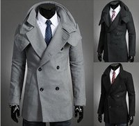 Wholesale Brand New autumn new fashion Men wool coat Thin body type Lapel double breasted Men casual wool coat