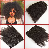 Wholesale Peruvian virgin g afro kinky curly a b c clip in natural color A human hair clip in hair extensions set inch in stock