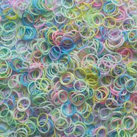 Cheap Free shipping Transparent Colourful Glow in The Dark Latex-Free Rubber Band loom bands for DIY Bracelet Loom Refill Wholesale