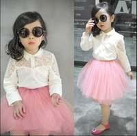 Cheap 2015 Spring Girls Cute Hollow Lace Shirt + Tutu Skirt 2 Pcs Sets Girls Cute New Sets Children Fashion Spring Clothing KIds New Summer Sets
