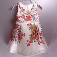 baby flower dress - 2015 European Style New Collection Childrens Dress Baby Grils Fashion Cotton Printing Flower Retro Dress Girls Kids Sleeveless A Line Dress