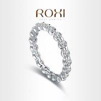 Anillos de plata Baratos-Joyería Roxi Marca manera del anillo de color plata al por mayor de titanio para suministros de joyería de las mujeres anillo de reparto estupendo piedra redonda 101033324
