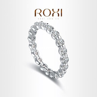 Wholesale ROXI Brand Fashion Jewelry Titanium Silver Color Ring For Women Jewelry Supplies Super Deal Round Stone Ring