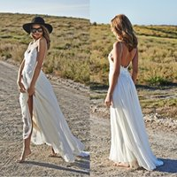 Cheap Custom Made 2014 A Line V Neck Backless Chiffon Bohemian Beach Style Boho Wedding Dress Hippie Bridal Gown vestidos de noiva