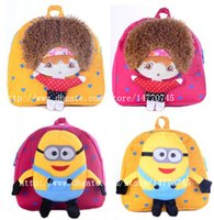 Wholesale Cartoon Minions kids backpack cute doll style little girl bag comfortable wear two design yellow hot pink selection mix color per