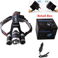 Wholesale Free DHL Lumen LED Headlamp Headlight CREE XM L T6 R5 Head Torch Lamp AC Charger Car Charger For Outdoor Camping