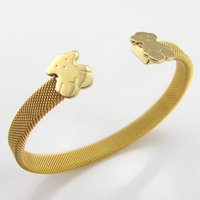 bear net - Bear Clasp Gold Plated Net Wire L Stainless Steel Cuff Bangle Jewelry for Men and Women SB01536
