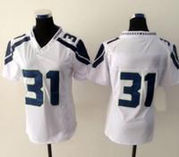 Cheap New Seahawk #31 White Women's American Football Jerseys Authentic Football Uniforms Cheap Sportswear Allow Mix Order