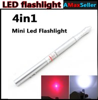 Wholesale 4 in MW Mini Red Laser Pen Pointers Pens mini LED Flashlight Screen Touch pen Stylus Pen Ballpoint Pen with Retail Box Gifts