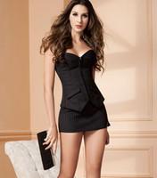 Wholesale Sexy Women Slim Lingerie Corset Bustiers Dress Bandage Vertical Stripe Nightwear Suit Dress Sleepwear