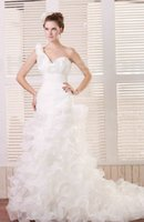 Wholesale One Shoulder Wedding Dresses Organza Handmade Flowers Chapel Train Real Image Bridal Gowns Dhyz