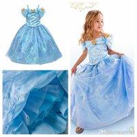 Wholesale Retail girls kids cinderella dress princess cinderella blue dress butterfly lace dress girls long formal dress party summer dress GD33
