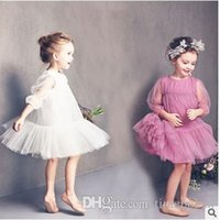 Wholesale 2016 New Girls Tutu Yarn Party Dresses kids Summer Princess Dresses Pleated Lantern Sleeve tutu Dress