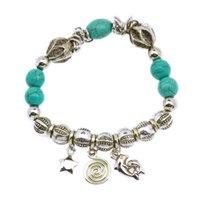 Wholesale 2015 Fashion Retro Bracelets Bangles Infinity Vintage Turquoise Silver Bracelet Fine Jewelry For Women Girl