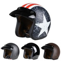 Wholesale rebel star style HELMET moto casco capacete open face vintage motorcycle helmets Jet retro snap helmet DOT