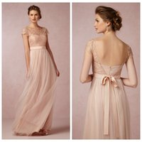 Wholesale Blush Bridesmaid Dress Cheap A Line Tulle Party Dresses Sheer Scoop Capped Sleeveless Backless Zipper Sash Floor Length Lace Bow Gowns