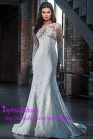 best busts - best selling lace wedding dresses mermaid style see through bust long sleeves wedding gowns button back simple