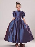 Wholesale 2015 Lilac Short Puff Sleeves Taffeta Flower Girl Dress with Crew Neck Sash Girl s Pageant Dress Wedding Party Dress
