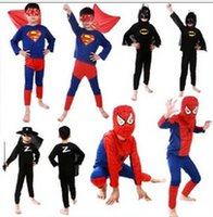 batman costumes for sale - Hot Sale Children Batman Spiderman Superman Costumes For Kids Zentai Superhero Suits Cosplay Clothes suits long sleeve A