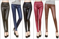 Cheap Spring models were thin waist matte leather leggings pantyhose outer wear tight leather pants fashion wholesale manufacturers