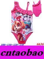 Wholesale Kids Cartoon dog2016 NEW Paw printed Patrol pattern tutu designs girls swimsuit swimwear years old
