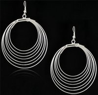 Wholesale pairs New fashion earrings jewelry Gypsy style Antique silver plated big circles hoop dangle hook earrings for women