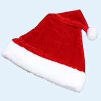 Wholesale DHL Red Santa Caps Christmas Festive Hat Good Quality Velvet Kid Adult Christmas Party Hats Caps Crops Santa Claus Acc KH0931