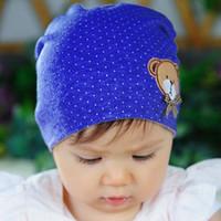Wholesale 1 X Hot New Cute Winter Warm Soft Cotton Bear Dots Baby Kids Girls Toddler Knitted Crochet Beanie Hat Cap Head Dress