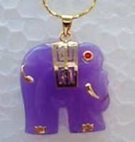 Cheap Charming Purple Jade Elephant Pendant Necklace 18""