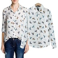Regular Polyester Regular 2014 New Arrival Fashion Top Quality Women Animal Chiffon Full Sleeve Turn Down Collar Birds Pattern Casual Shirt White S M L
