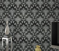 glitter wallpaper - PVC glitter black silver damask wallpaper background wall bedroom wallpaper for living room wall papers home decor WP036