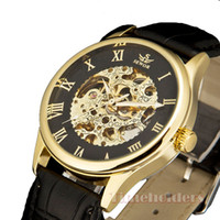Wholesale Leather bracelet skeleton luxury watches crystal stainless steel fashion watch new style black gold