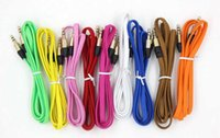 Wholesale 1M Ft mm Car Stereo Nylon Braided Fabric AUX Audio Cable For Smart Mobile Phone iphone5 Plus tablet Media Player speaker
