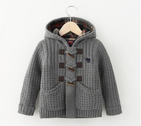 Wholesale Childrens Sweater Jackets - 2015 New Winter Agate Buckle Hooded Knitting Cardigan Neutral Clip Cotton Coat Childrens Jackets Girls Outwear Boys Sweater Kids Clothes