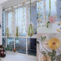 Wholesale Hand Embroidered Floral Shutter Shade Sheer Window Door Room Decoration Curtain