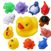 bath squeeze toys - 13Pcs Animals Child Baby Kids Bath Toy Soft Rubber Float Squeeze Sound Wash Bath Swimming Soft Float Toys