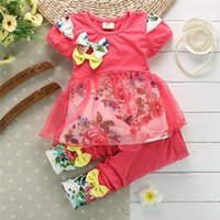 Wholesale New Baby Girls clothing Set Girls floral print short sleeved suit girls baby set suits retail kids clothing sets