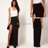 Cheap New 2014 Fashion Women's Sexy High Waist Side Split Slim Maxi Skirts Ladies Full Length Long Skirt Plus size