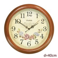antique chestnut - Antique Style Round Wooden Wall Clock with Chestnut Color Framed Flower Clock inch