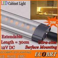 Cheap 2015 10pcs lot 12v 3w 30cm long led bar lights linear 3528 SMD Aluminum flat Kitchen under cabinet furniture light lighting lamp