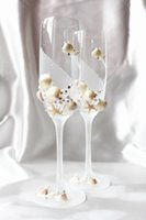champagne flutes - Handmade Conch Satfish Flower Pearl Crystal Champagen Flute Without Lead Styles Ocean Element Champagne Glasses Beach Wedding Favor