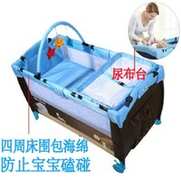 Wholesale Multifunction Folding Baby Bedding Set Portable With Netting And Trolley