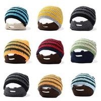 bearded winter hat - 20pcs colors Knitted Hat Beanie Skull Caps Bearded Wool Knitted Hats Warmer Ski Bike Skull Hat Unisex Men Beard Cap D284