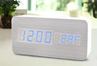big desktop clock - Sounds Control Alarm Clocks Thermometer LED Digital Clock Wood wooden Big Numbers Table Clock Desktop Clock