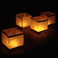 Lanterne d'eau flottante carrée de 10pcs avec la bougie, chinois souhaitant les lanternes de papier souhaitant la lampe pour le jour commémoratif, fête de mariage d'anniversaire