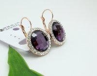Wholesale arrings Dangle Earrings Chriatmas Gift Brand design hottest rose gold Plated purple Austria SWA Crystal round Jewelry drop Earrings